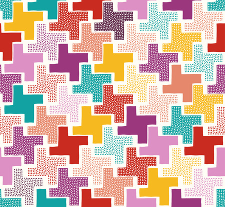random: seamless multicolor geometric dots texture tiles pattern Illustration