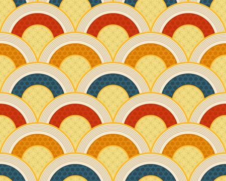scallop: seamless japanese scallop ocean wave pattern Illustration