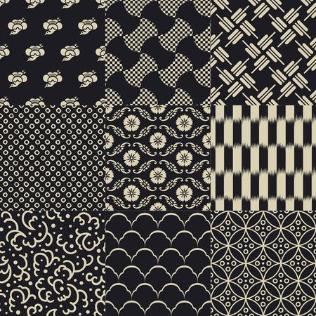 シームレスな日本の伝統的なメッシュ パターン  イラスト・ベクター素材