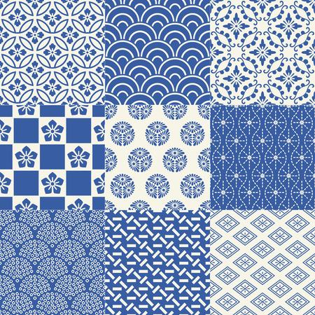 원활한 일본 전통 메쉬 패턴 일러스트