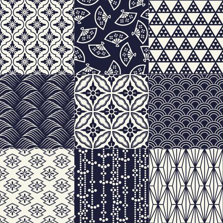 seamless japanese traditional mesh pattern Vettoriali