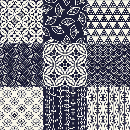 japanese fan: seamless japanese traditional mesh pattern Illustration