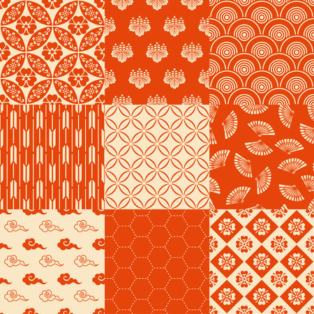 japanese fan: seamless traditional japanese pattern Illustration