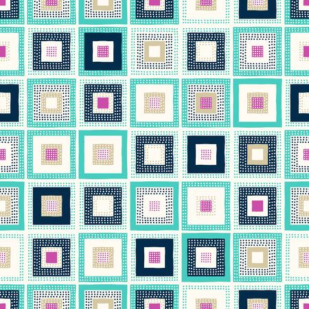seamless doodle dots geometric square pattern Stock Illustratie