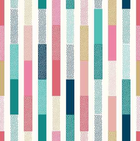 seamless doodle dots vertical stripes patchwork pattern  イラスト・ベクター素材