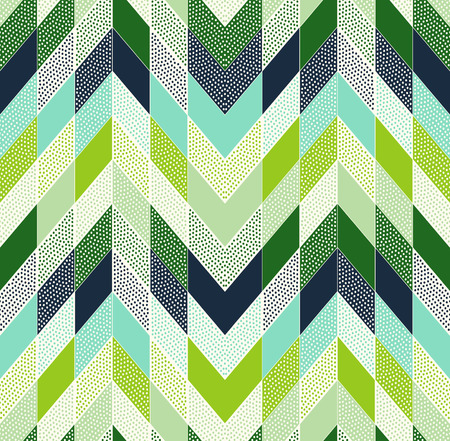 zig zag: seamless doodle dots zig zag patchwork pattern Illustration
