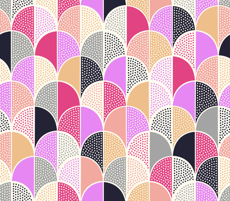 scallop: seamless doodle dots scallop patchwork pattern