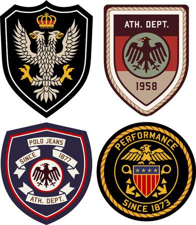royal classic heraldic emblem badge shield Vectores