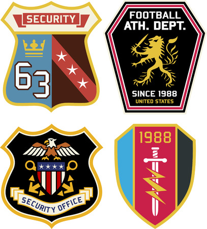 Set of police medal badges and patches Vector