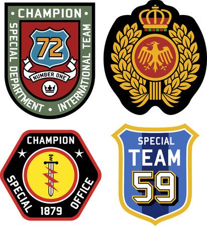 Set van politie medaille badges en patches