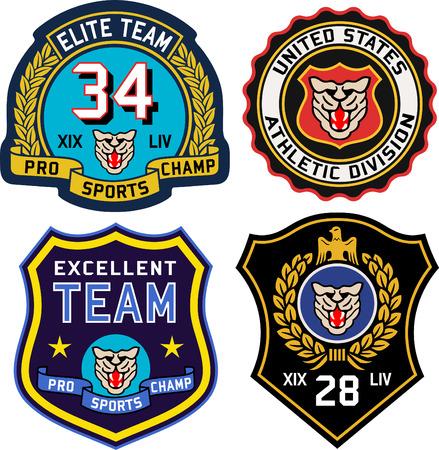 officer: Set of retro vintage badges shielding Illustration