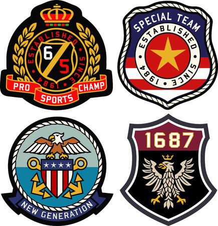 escudo: Conjunto de insignias retro blindaje vendimia