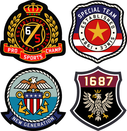 Set of retro vintage badges shielding Illustration