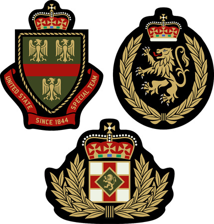 police badge: classic heraldic royal emblem badge shield