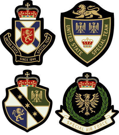 royal person: classic heraldic royal emblem badge shield