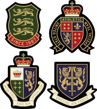 古典的な王室紋章のバッジの盾