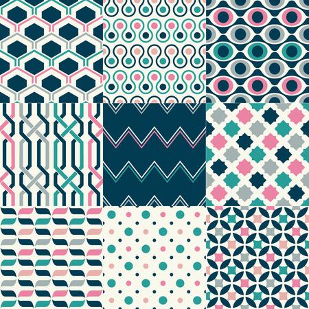 seamless abstract geometric retro pattern set Ilustrace