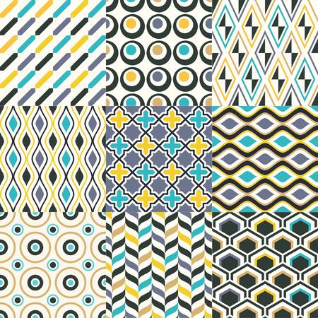 원활한 복고풍 기하학적 패턴 세트