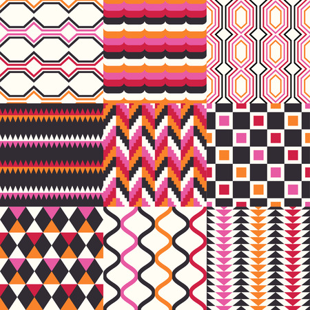 rhombus: seamless retro geometric pattern set
