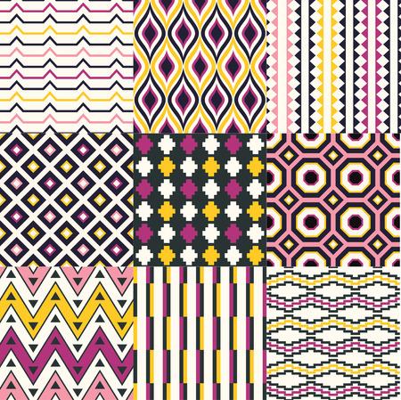 rhombus: seamless retro geometric pattern set