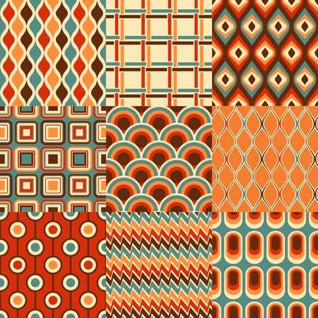 seamless retro geometric pattern set