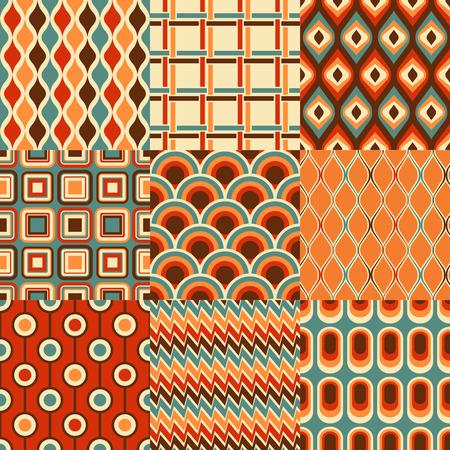 seamless retro geometric pattern set