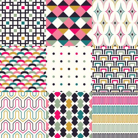 シームレスな抽象的な幾何学模様セット  イラスト・ベクター素材