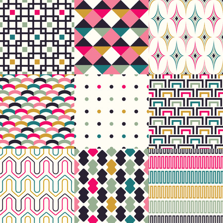 seamless abstract geometric pattern set Illusztráció