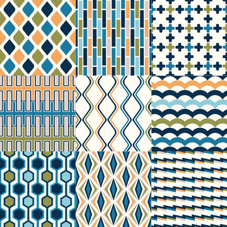 modular rhythm: seamless abstract geometric pattern set Illustration