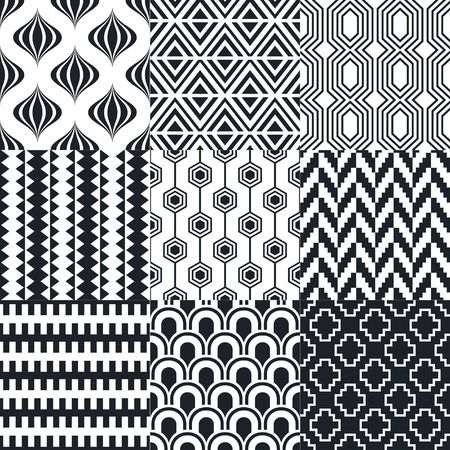 monochromatic: seamless geometric black white monochromatic background set Illustration