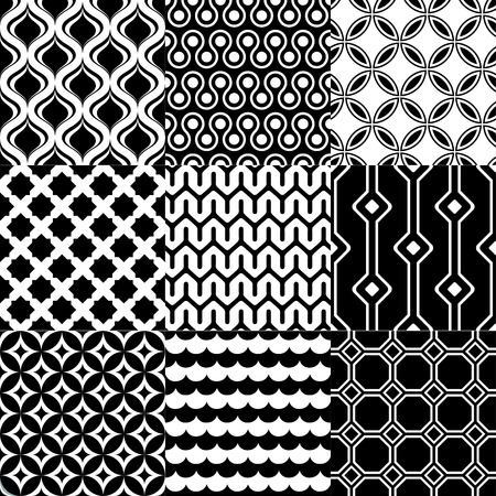 monochromatic: seamless geometric black white monochromatic background set Illustration