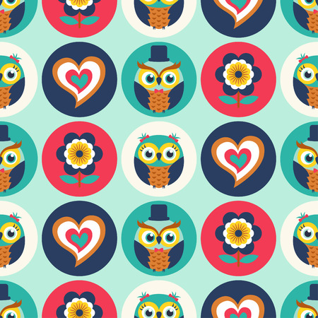 seamless cute owls pattern background Vector