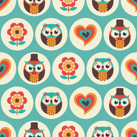 seamless cute owls flower pattern background Vectores