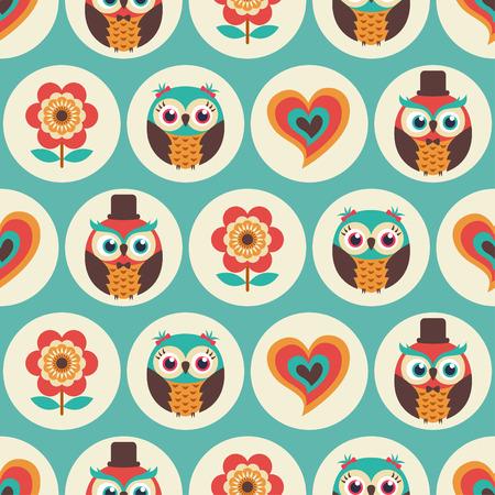 seamless cute owls flower pattern background Illustration