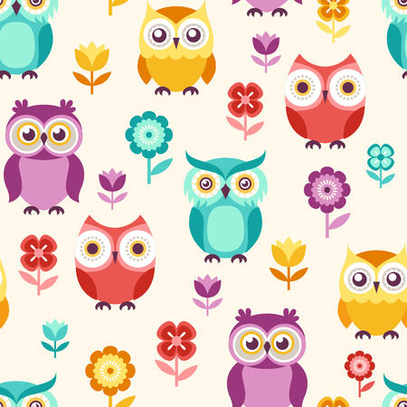 seamless cute owls pattern background Stock Illustratie
