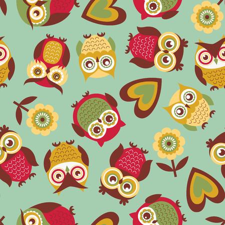 seamless cute owls pattern background Vettoriali