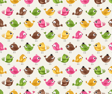seamless cute birds pattern Vector