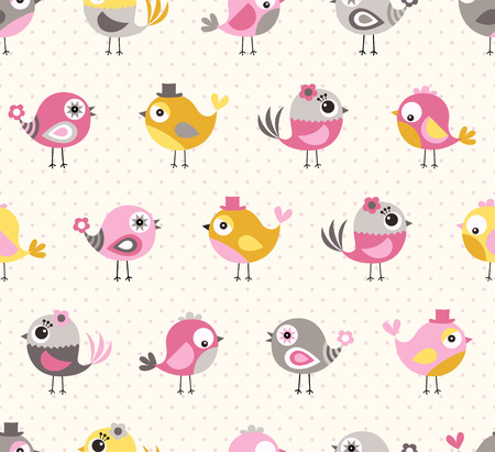 cute girl: seamless cute birds pattern