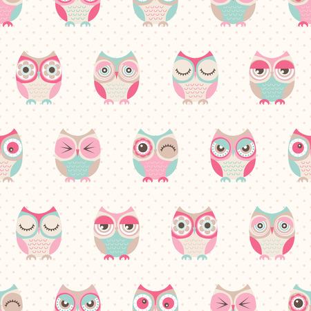 seamless cute owls pattern background Stock Illustratie