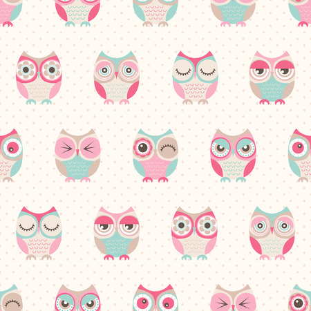 seamless cute owls pattern background Çizim