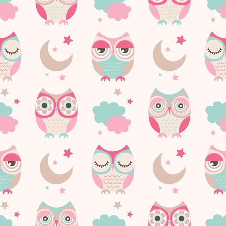 sowa: Bez szwu cute sowy gwiazdy księżyc tło wzór Ilustracja