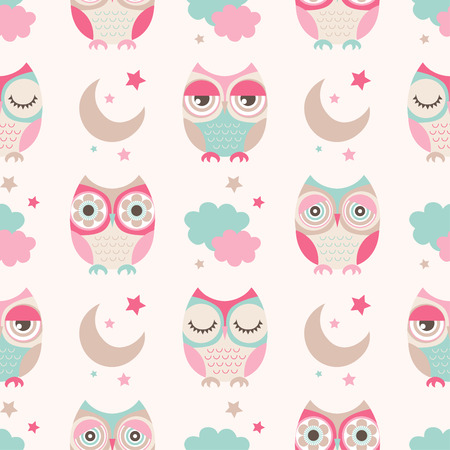 owl illustration: seamless cute owls stars moon pattern background Illustration