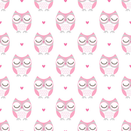 seamless cute owls bedroom pattern background Vectores
