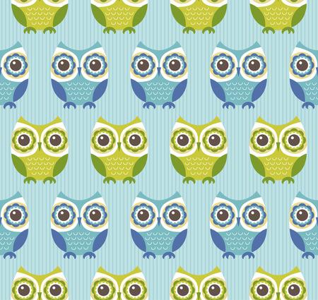 bue: seamless owls cartoon pattern