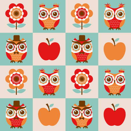 seamless retro color owls flower background Vector