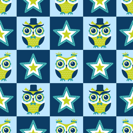 seamless colorful owls geometric stars background Vector