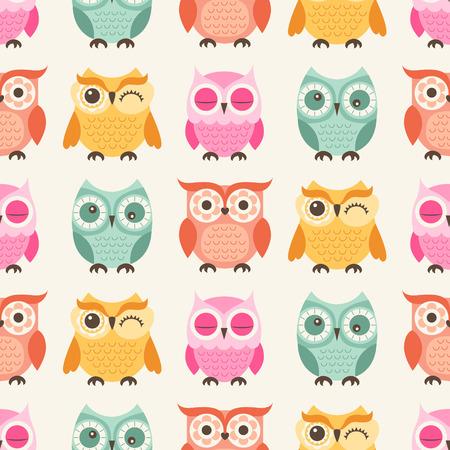 naadloze kleurrijke uilen cartoon achtergrond