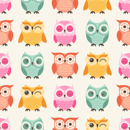baby facial expressions: seamless colorful owls cartoon background