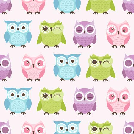 seamless cute cartoon owls birds pattern background