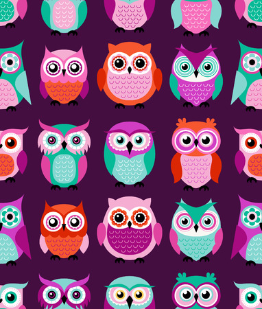 pink wall paper: seamless colorful owls cartoon background